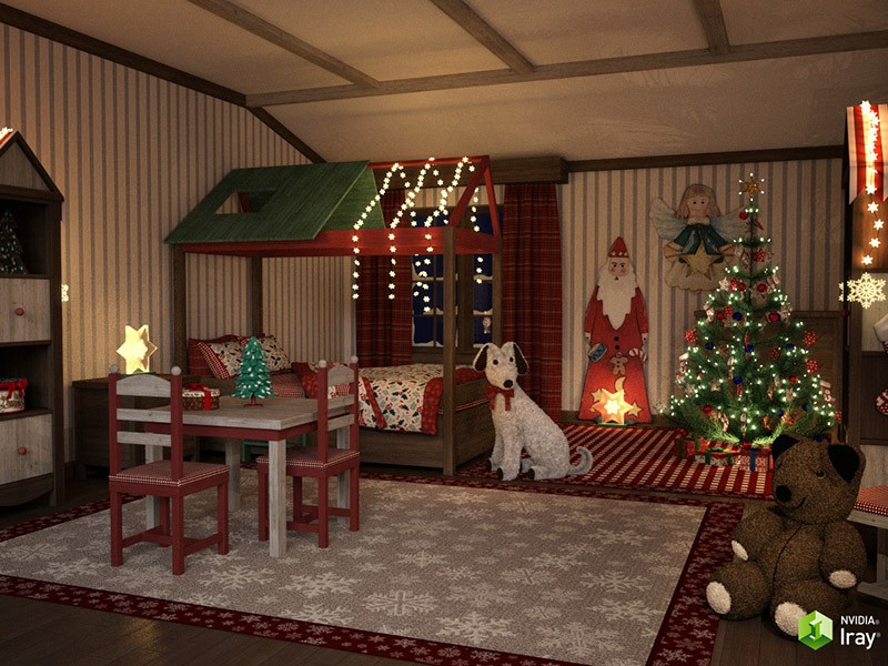 Christmas Kids Bedroom by GrayCloudDesign