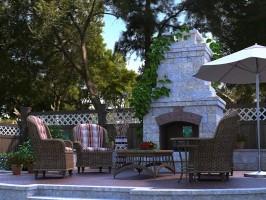 3D Model Garden Fireplace