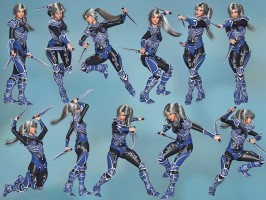 Six Fantasy Daggers and 15 poses for Poser's La Femme