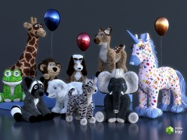 A rendering of stuffed animals