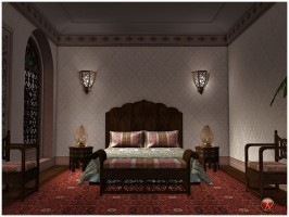 Moroccan Riad Bedroom by GrayCloudDesign